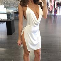 Sexy porno lencería Backless Halter Mujeres Camisón Vestido Lado Abrir Lado Profundo Cuello en V Pura de dormir Mini vestido de noche Sexy Ropa de dormir