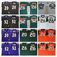 빈티지 # 20 에드 리드 # 26 Sean Taylor # 52 레이 루이스 블랙 퍼플 그린 오렌지 화이트 NCAA 마이애미 허리케인 축구 유니폼