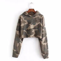 New Women's Fashion Slim Camouflage Short Open Open NAVEL MAGLIONE MANICHE LUNGHE 019-A355