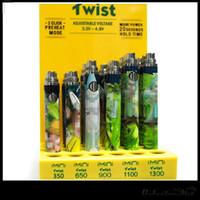 Imini Twist Vape Pil 350 mAh 650mAh 900 mAh 1100 mAh 1300 mAh VV Değişken Gerilim 510 Boş Vape Kalem Kartuşları için Vape Piller