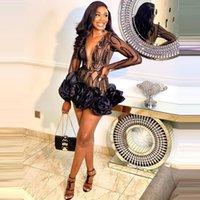 짧은 검은 드레스 바디 콘프 클릴 긴 소매 반짝이 appliques 깊은 V 넥 섹시 댄스 파티 여성 맞춤 드레스