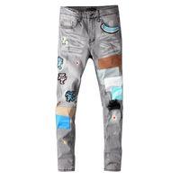 Männer Jeans stree Stil Hosen Mode Patch Gerade Hose Männer Hosen Männer Casual Jenas Reißverschluss Lange Jeans 2020 Neue Großhandel