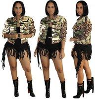 Womens Camouflage Leopard Patchwork a maniche lunghe con scollo a risvolto Cappotti Moda Casual Donne spesse Capispalla a vita alta Vita Giacche in vita