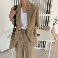Yiciya 2020 Kadınlar Gevşek Pantolon Takım Elbise 2 Parça Setleri Sıcak Elegance Kısa Kollu Vintage Nazik Blazer + Düz Ofis Bayan