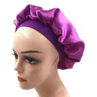 Satin bonnet wide edge high elastic head with sleeping cap solid bath cap women's chemotherapy hair care hat new style