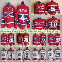Mens Montreal Canadiens Vintage Sürüm Formaları 4 BELIVEAAU 29 DUGNDEN 5 GEOFFRION 9 RICHARD 10 LAFLEUR 93 Stanley Cup 77 Turgeon CCM Hokey