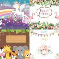 Unicornio Patrón de fondo Tela fotográfica estudio uso telón de fondo ropa fiestas de cumpleaños fotografías decorar artículos venta caliente 12 51Yz l1