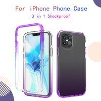 Para iPhone 12 pro max gradient border phone case 3 em 1 soft tpu anti-outono à prova de choque capa protetora para iphone xs 11 8