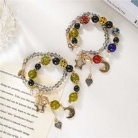 Mingzu Viento Natural Piedra Beads Elemento Doble Pulsera Color Hecho A Mano Crystal Moon Pentagram MULTI Capa Mano