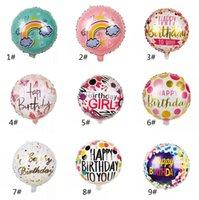18 pulgadas redonda feliz cumpleaños globos globos feliz cumpleaños cartas impresas fiesta de aluminio globos de aluminio decoración del hogar PPA3524