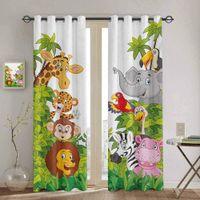 Спальня кухонная занавес мультфильм зоопарк животных коллекции джунглей детские окна шторы шторы для гостиной декоративные предметы lj201224