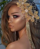 Lüks Altın Düğün Alaşım Çiçek Kafa Gelin Başlığı Rhinestone Düğün Saç Aksesuarları Süsler Kadınlar Için Taç Tiara Hediye AL7831