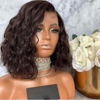 Короткие волнистые боб парик кружева передние человеческие парики волос отбеленные узлы Virgin Brazilian 13x4 кружевной парик предварительно сорванный натуральный волос