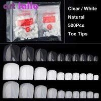 Artlalic 500 stücke Künstliche falsche Zehe Nägel Tipps für Nail Art Dekoration Fuß Maniküre Schönheit Werkzeuge Natürlich / Klar / Weiß Gefälschter Nagel
