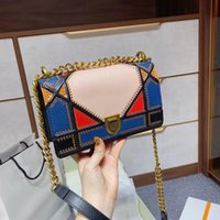 Multi colore Designer di lusso Donne Lady Fashion Borse Borse Color Color Catene di abbinamento Diamond Lattice Geometric Shield Bag