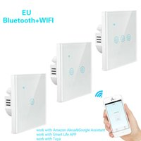 Bluetooth + wifi smart tactile interrupteur intelligent interrupteur de lumière sans fil LED Touch Wall interrupteur wifi avec Alexa Google Home