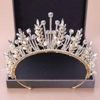 KMVEXO Baroque Luxury Bridal Crystal Leaf Crowns Princess Queen Pageant Prom Pearl Veil Tiaras Headband Wedding Hair Accessories Y1130