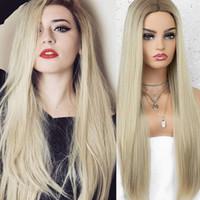 Naturel Bébé Cheveux Droite Blonde ombre Perruques Synthétiques Cosplay Main attachée à la main pleine dentelle avant Perruques de fibre résistant à la chaleur Deux tonalité