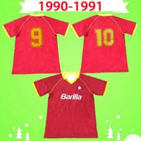 1990 1991 Retro Roma Soccer Jersey Home Vermelho 90 91 Camisa de Futebol Camisa Clássica Comemorar Coleção Vintage Roma Maglia da Calcio