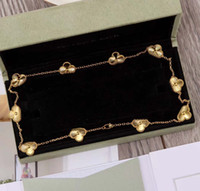 S925 الفضة 10 قطع زهرة قلادة قلادة في 18 كيلو الذهب مطلي النساء سحر مجوهرات الزفاف هدية PS3410