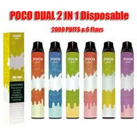 100 % 원래 POCO 듀얼 2 in 1 2000 Puffs 일회용 사전 채워진 vape 장치 펜 키트 6.0ml 카트리지 포드 및 950mAh vape 배터리