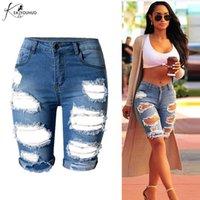 Jeans femininos 2021 cintura alta mamãe lavar fêmea rasgado para as mulheres empurrar a mulher magro de Denim Plus Size MidKnee Shorts Calças