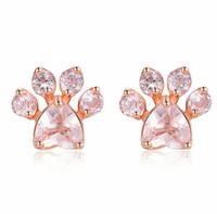 Горячая модная милая кошка серьги лапы для женщин fashiong розовое золото серьги розовый когть печать медведь и собака лапы серьги