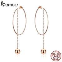 Bamoer популярный 100% 925 стерлингового серебра большого кругового круглая длинная цепочка сброса для женщин Серьги в стиле рок-ювелирные изделия SCE569 Y1130