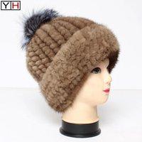 비니 / 두개골 모자 러시아 아가씨 따뜻한 니트 리얼 모자 겨울 100 % 천연 비니 패션 모피 공 탑 정품 모자