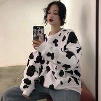 Hwlzltzht kawaii japonês outono feminino manga longa moletom moletom moletom vaca impressa moletom moda mulheres casual moletom z1214