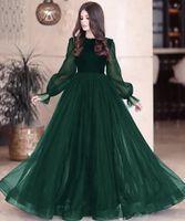 Dark Green Pal Pageant Robes 2021 Modeste Mode Fête longue Manches Soirée de la soirée Tobe occasion Robe Dentelle Dossier Dossier Personnalisé