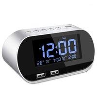 라디오 알람 시계 라디오, FM 수면 타이머, 듀얼 USB 포트 충전, 디지털 디스플레이, 디지털 디스플레이, 조절 식량 (흰색) 1