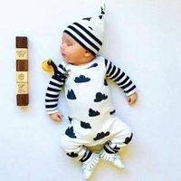 Novo estilo infante conjunto de coagulação outono menino menino romper luva longa jumpsuit dos desenhos animados + chapéu 2 pcs recém-nascido criança bebê roupas 201114