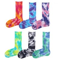 Men Unisex Novelty Colorful Tie- dyeing Skateboard Socks. Cott...