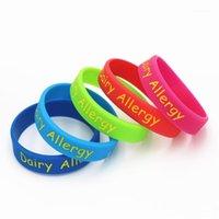1 pc alerta alerta de alergia alergia silicone pulseira 5 cores crianças crianças tamanho braceletsbangles consciência braçadeira presentes sh1441