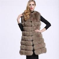 Heißer Verkauf Luxus Hohe Nachahmung Frauen Faux Pelz Weste Lange Mantel Winter Frau Warm Dicke Spleißjacken Weibliche Weste Outwear