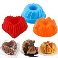 Moldes de cozimento Silicone Big Bolo Moldes Flor Coroa Bolos Bakeware Ferramentas 3D Pão Pão Mold Pizza Pan DIY Aniversário Ferramenta de Brinde
