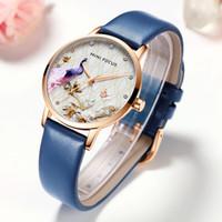 Mini foco mulheres assistia à prova d 'água azul relógio de couro luxo moda casual vestido de natal quartzo womans womans relógio senhoras 201204