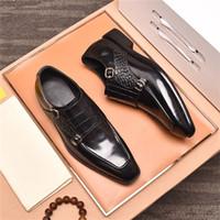 19fw Erkekler Örgün Ayakkabı Ilmek Gelinlik Erkek Flats Beyler Casual Ayakkabı Üzerinde Kayma Siyah Patent Deri Kırmızı Süet Loafer'lar Bonsin
