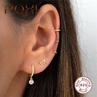 HOOP Huggie Roxi Semplice cerchio rotondo orecchini in cristallo oro argento pendories 925 sterling chic zircono pietra orecchini donne orecchini1