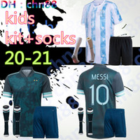 Copa America 2020 2021 어린이 아르헨티나 축구 유니폼 키즈 키트 + 양말 20 21 Messi Dybala Maradona Aguero Di Maria Higuain 축구 셔츠