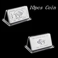 10pcs magnetico tedesco menta 1 Troy oncia bufalo artigianato americano souvenir argento medaglione bar copia monete in dio ci fidiamo dellibio d'argento