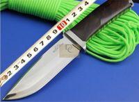 Rockstead Kon-ZDP Sabit Bıçak Bıçak Survival Taktik Bıçak D2 Blade Ahşap Saplı Deri Kılıf Açık Kamp EDC Araçları Için