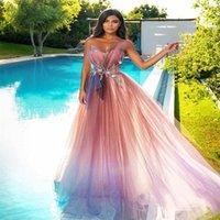 Bling A-Line Vestidos de prom Plazs Sweetheart Lentejas Beads Apliqued Lace Formal Party Dress Pink Blush Sweep Train Custom Hecho Vestido barato