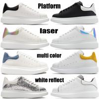 Топ модные платформы мужчины женщин кроссовки тройной белый отражают черный многоцветный хвост серебряный блесток лазерная радуга мужская беговая обувь EUR 36-45