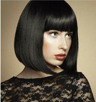Fashion Nouveau Style Bob Wig Vente chaude courte perruque droite 12 pouces Perruques noires