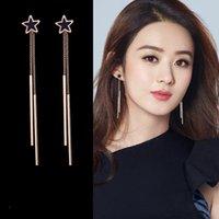 Korea Style Doble Tassel Long Star Shape Clip en Pendiente Sin Piercing Para Mujeres Elegante Lindo Sin Agujero Pendientes Anti Allergy