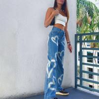 Vintage Kalp Baskılı Y2K Baggy Kot Kadınlar Yüksek Bel Harajuku Estetik Anne Denim Streetwear 90s Pantolon W0104