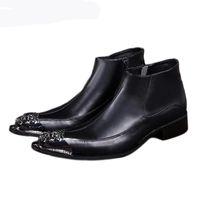 Японский стиль моды мужские ботинки заостренные железные пальцы черные мужчины кожаные ботинки Zip Antumn ботинки мужчины ботас кискулина