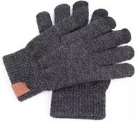 Gants tricotés homme femme solide hiver chaud gant portable gant extérieur cinq doigts gants à écran tactile